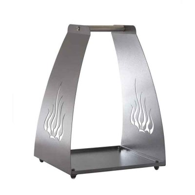 Firewood carrier and holder Flame silver