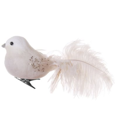 Feather bird with clip 18 cm