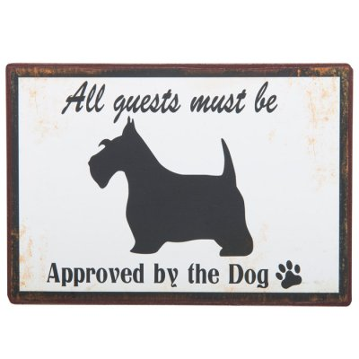 Metal sign Approved by the dog