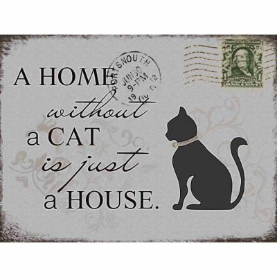 Metal sign Home without a cat