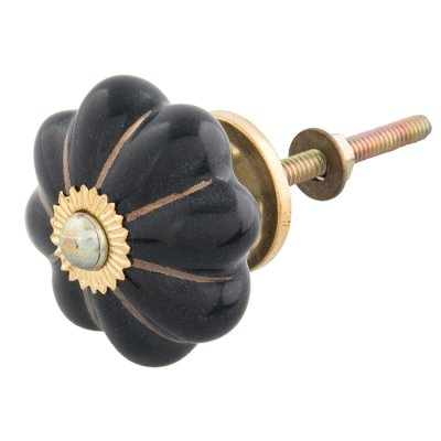 Door knob flower black/gold
