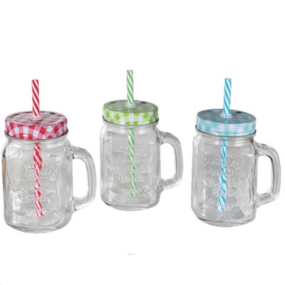 Drinking glass with straw