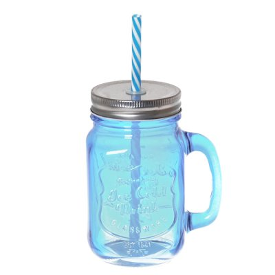 Drinking glass with straw blue