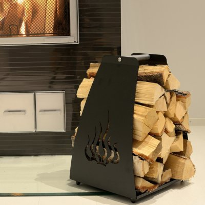 Firewood carrier and holder Flame black