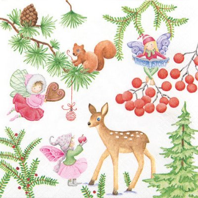 Napkin Playful Fairies Winter