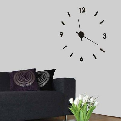 Sticker wall clock big, black