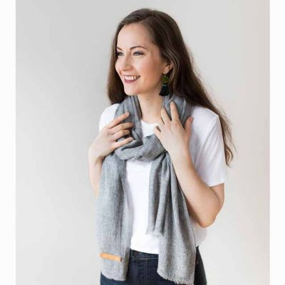 Cashmere Scarf Woven Grey