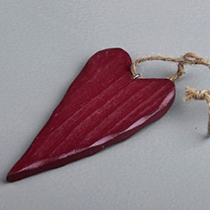 Heart wooden 10 cm red