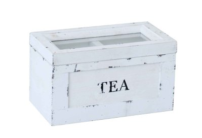 Tea box rustic white 2 sections
