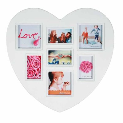 Picture frame for 7 photos Heart